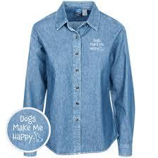 Dogs Make Me Happy Classic Womens Light Blue Denim Shirt