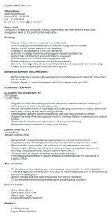 Logistics Readiness Officer Sample Resume. Military Logistics Resume ...
