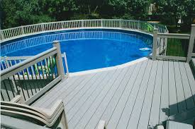 above ground round pool with deck. Round Above Ground Composite Pool With Decks Railing Round Deck A