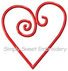 Scroll Heart Scroll Heart Machine Embroidery Applique Design