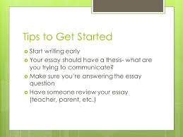 college essays jen motzer associate director of admissions lake  tips to get started  start writing early  your essay should have a thesis