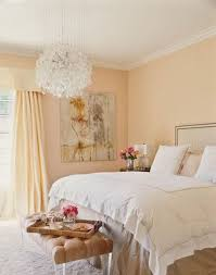 pale yellow wall color and unique ball shaped crystal pendant lamp with clean furniture ideas for perfect shabby chic bedroom decor