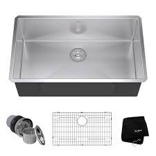 KRAUS Undermount Stainless Steel 32 In Single Bowl Kitchen Sink Home Depot Stainless Steel Kitchen Sinks