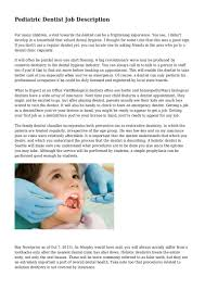 job description for a dentist pediatric dentist job description