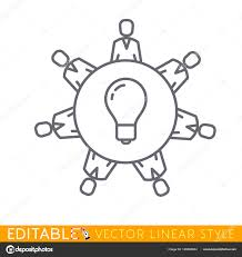 office workers business management meeting and creative brainstorming on the round table in top view editable