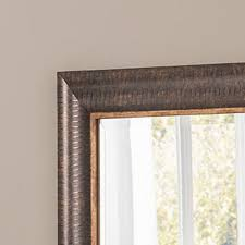 bronze wall mirror with gold trim and pinstripes 132 x 48cm exclusive mirrors