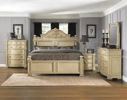 White Washed Bedroom Furniture Beige Wood Bed Frame No Headboard ...