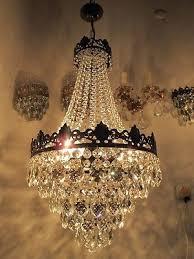 antique vnt french big basket crystal chandelier lamp 1940 s 14in Ø dmtr rare