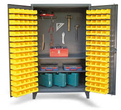 Storage Bin Cabinet Strong Hold Products Tool Storage Bin Cabinet With 2 Shelves And