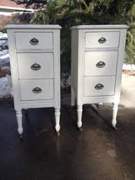 Narrow nightstands, but lots of storage. In some other, non-hideous color