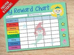 Mermaid Reward Chart Kids Childrens School Sticker Star Chart Stickers Pen Ebay