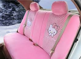 name new cute polka dots hello kitty universal automobile plush velvet car seat cover 18pcs sets pink