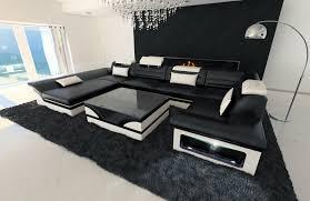 sofa led luxus bild big leather sofa enzo with led lights black white