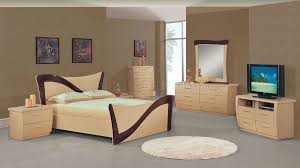 Lacquer Bedroom Furniture Two Tone Beige Dark Cherry Lacquer Finish Modern Bedroom Set