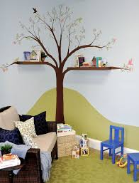 Creative Idea:Popular Kids Playroom Designs With Tree Shaped Brown Wood  Wall Bookcase Shelves Creative
