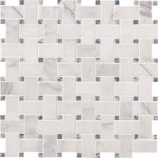 calacatta cressa basketweave 12 in x 12 in x 10mm honed marble mesh