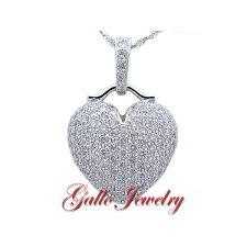 fancy puffed diamond heart pendant