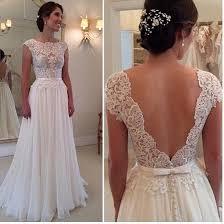 flowy wedding dresses. Beach Wedding Dress Simple A Line Lace Bodice Ivory Chiffon Skirt