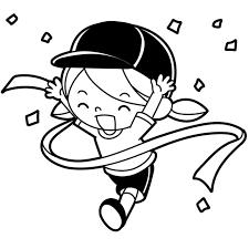 笑顔でゴールテープをきる女の子のイラスト 無料イラスト素材素材ラボ