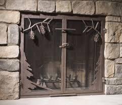 modern fireplace screen with door