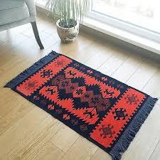 modern bohemian style turkish area rug kilim runner pastel color area rug room