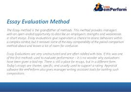 which performance appraisal style suits your company  essay evaluation method