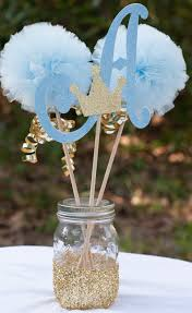 Prince Baby Shower Initial Blue and Gold Baby Boy Centerpiece Table  Decoration