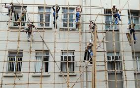 Bamboo scaffolding in asian countries