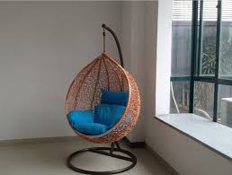 blue hanging chairs for bedrooms. Furniture. Brown Painted Webbing Hanging Chair For Bedroom Using Blue Cotton Padded Seater. Mesmerizing Chairs Bedrooms I
