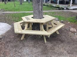 the picnic table around a tree i built today diy picnic table around tree plans