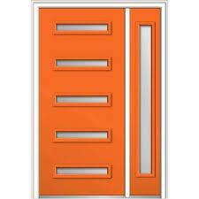 Orange front door Designs 48 In 80 In Davina Frosted Glass Lefthand Inswing 5 Home Depot Orange Front Doors Exterior Doors The Home Depot