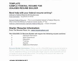 Veteran Federal Resume Samples Lovely Usajobs Resume Builder Resume