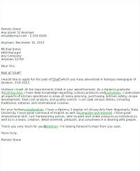 Cover Letters For Chefs Fresh Cover Letter Cover Letter For The Post