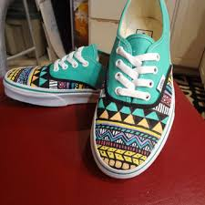 vans shoes drawn on. aztec/tribal vans (shoes/ sneakers - made to order) shoes drawn on