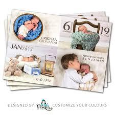 Print Baby Announcement Cards Photo Birth Announcement Card Modern Little Monkey Designs