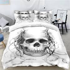 details about white skull with snakes king queen twin size duvet cover bedding set