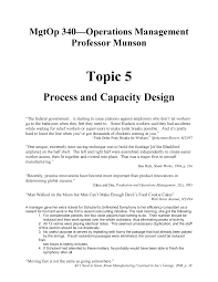 Design Capacity Topic 5 Process And Capacity Design Mgtop 340 Wsu