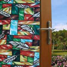 details about 2mx45cm static cling stained glass bathroom window door pvc privacy sticker