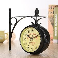 charminer vintage decorative double sided metal wall clock antique style station wall clock wall hanging clock black wood wall clocks wooden clock from