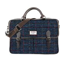 allasdale large harris tweed leather briefcase