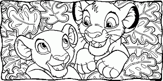Small Picture Nala and Simba Between Leaves Coloring Page Animal pages of