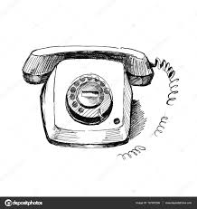 Old Telephone Design Old Telephone Vintage Hand Drawn Style Pen And Ink Retro