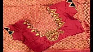 Double Colour Blouse Back Neck Designs Patch Work Bloue Designs For Double Colour Saree