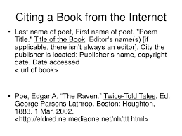 Citing A Poem From A Book Ppt Download