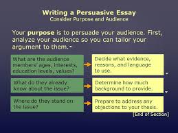 mini workshop writing a persuasive essay assignment choose an  writing a persuasive essay consider purpose and audience your purpose is to persuade your audience