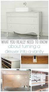 dresser into a bathroom vanity
