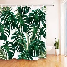 lb tropical green leaves monstera white shower curtain bathroom waterproof mildew resistant polyester fabric for bathtub