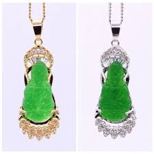 lucky jewelry green jade buddha 18k gold plated zircon pendant necklace chain