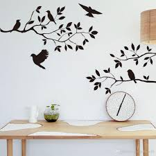 black bird and tree branch leaves wall sticker decal removable