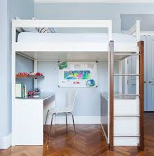 Loft Bunk Bed | Modern design in white. Desk & credenza below top bunk. DIY  bedroom furniture & design ideas. Wud Furniture Design.